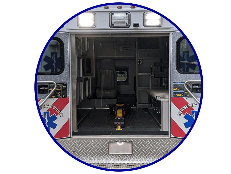 red white and blue ambulance remount