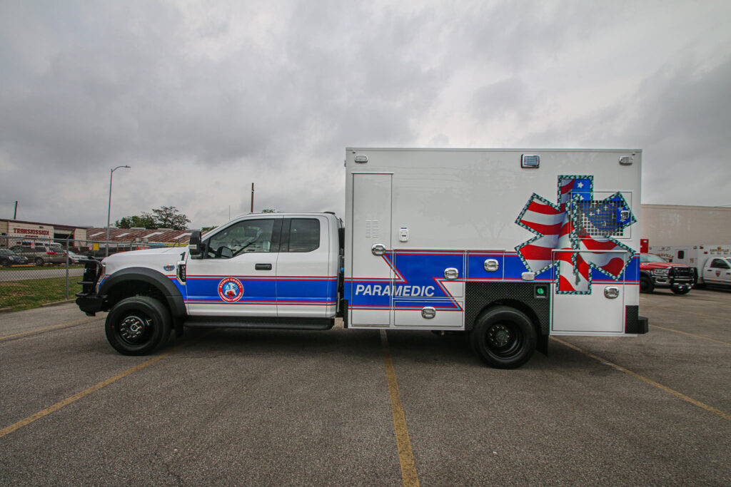 Side view of recently remounted type I ambulance